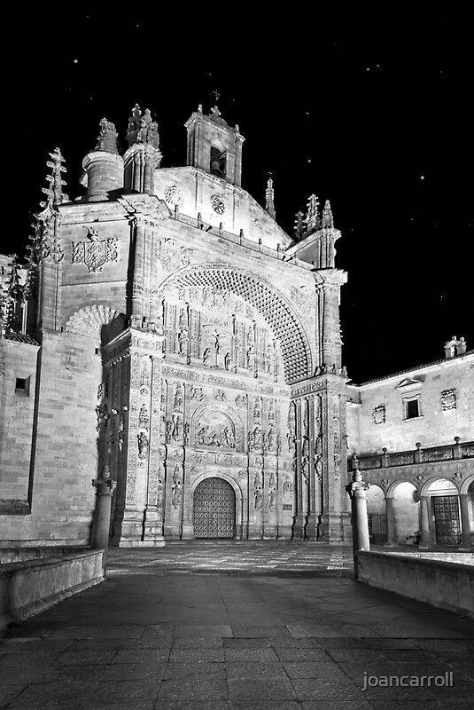 Convento de San Esteban Salamanca Spain  via @redbubble #Salamanca #spain #church #night #nightphotography #blackandwhite #blackandwhitephotography @joancarroll