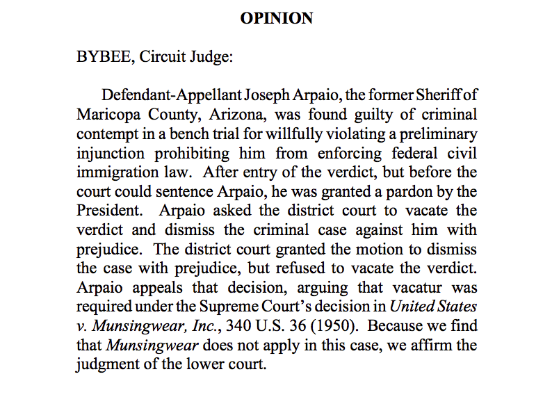 Now: Joseph Arpaio, pardoned by Trump, loses bid to vacate criminal contempt verdict. 9th Circuit opinion just issued:  https:// assets.documentcloud.org/documents/6788 507/Arpaio-2020-02-27.pdf  … <br>http://pic.twitter.com/15uSbwHjB0