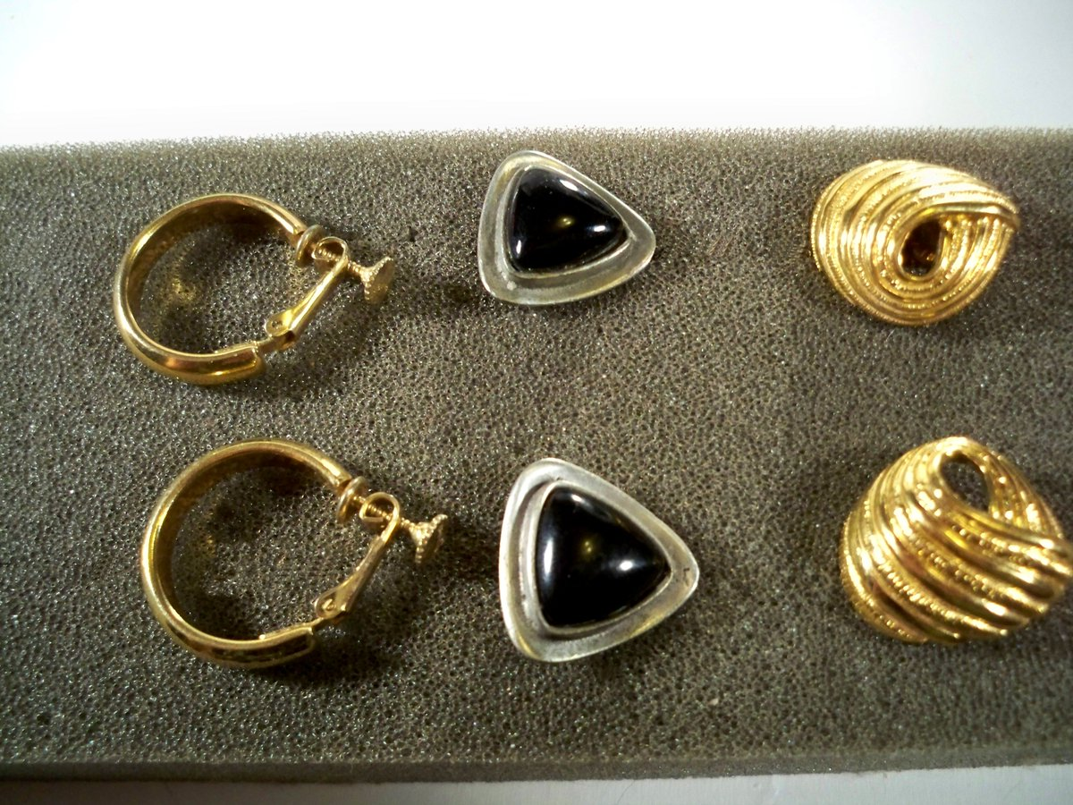 Lot of 3 #Vintage Designer Signed #Earrings * Lot149 Trifari, Corocraft, Vendome    #vogueteam #jewelry