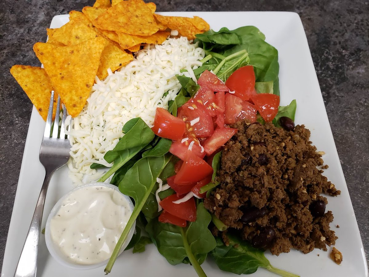 Taco Salad is being served this week! What can be more inviting at lunch? On the photo,this salad is made with spinach, or you can choose lettuce...the choice is yours! Fresh, healthy, and delicious! 40 Arthur St. S. Elmira Ontario  http://www. kitchenkuttings.com      #Healthy #Salad #Cheese<br>http://pic.twitter.com/XjbFI34DjD
