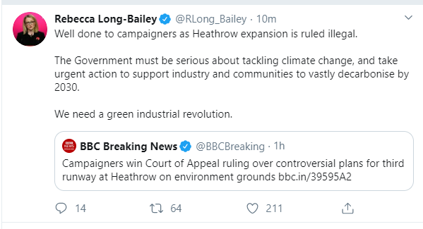 @britishchambers @johnsauven interesting that @RLong_Bailey has commented, still waiting to see what if anything Keir Starmer says