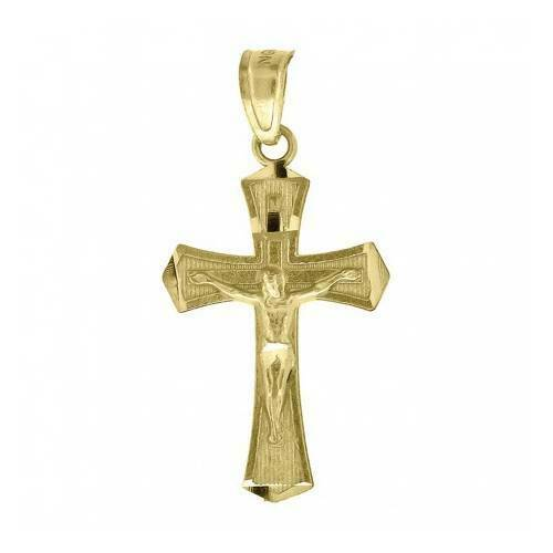 Real 10KT Yellow Gold Crucifix Cross Religious Fashion Charm Pendant Small Tiny #10kt #yellowgold #gold #fashion #online #Style #pendant #jewelry #goldpendant #shopping #buy #sell #love #jewels #religious #CrucifixPendant #crosspendant #Jesuspendant