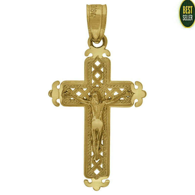 Solid 10KT Yellow Gold Fashion Cross Crucifix Religious Charm Pendant Mens Small #10kt #yellowgold #gold #fashion #online #Style #pendant #jewelry #goldpendant #shopping #buy #sell #love #jewels #religious #CrucifixPendant #crosspendant #Jesuspendant