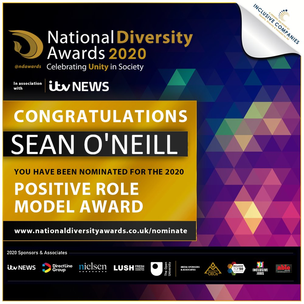 Sean O'Neill has been nominated for the Positive Role Model Award for LGBT at The National Diversity Awards 2020 in association with @itvnews!! Congratulations Sean! If you would like to vote please visit http://www.nationaldiversityawards.co.uk/nominate  #NDA20 #VoteNowpic.twitter.com/c0T7gpFdiv