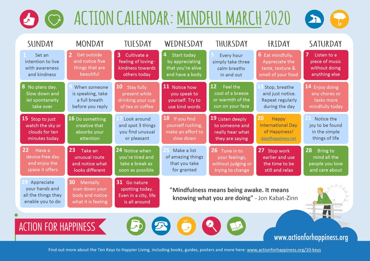 Let's all be mindful #MindfulMarch @actionhappiness calendar
