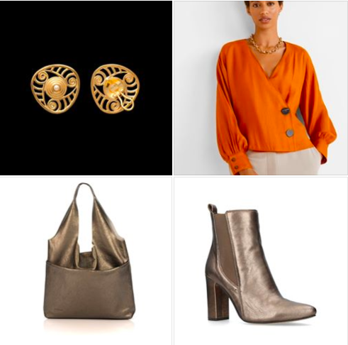 A #DarkCheddar #workdaylook with metallic bronze #accessories #details. Add Aurea H Clip #earrings #jewels #jewellery #jewelry #shelldesign #style #fashion #moda #FW20 #fashioninspiration #trends