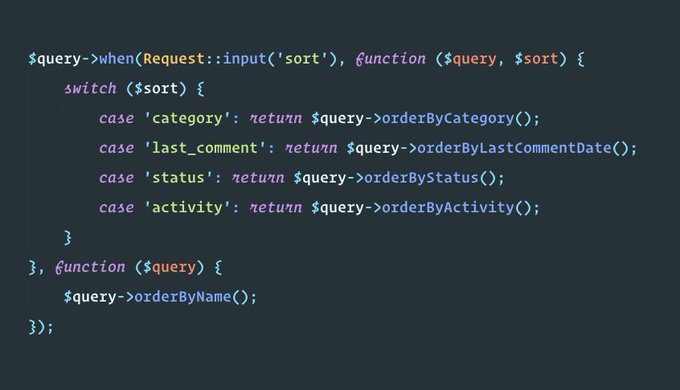 Yesterday in my @LaraconOnline talk I explained how to use the query builder when() method to handle complex sorting