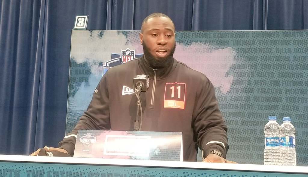 """Canadian-born Neville Gallimore, son of Jamaican farmers, got emotional talking about living out his NFL dream. """"Doesn't matter where you come from, what your background is, if you have that hunger you can do anything."""" Admires @GenoSacks because he's a """"high-effort guy.""""<br>http://pic.twitter.com/o6iBxg5uOg"""