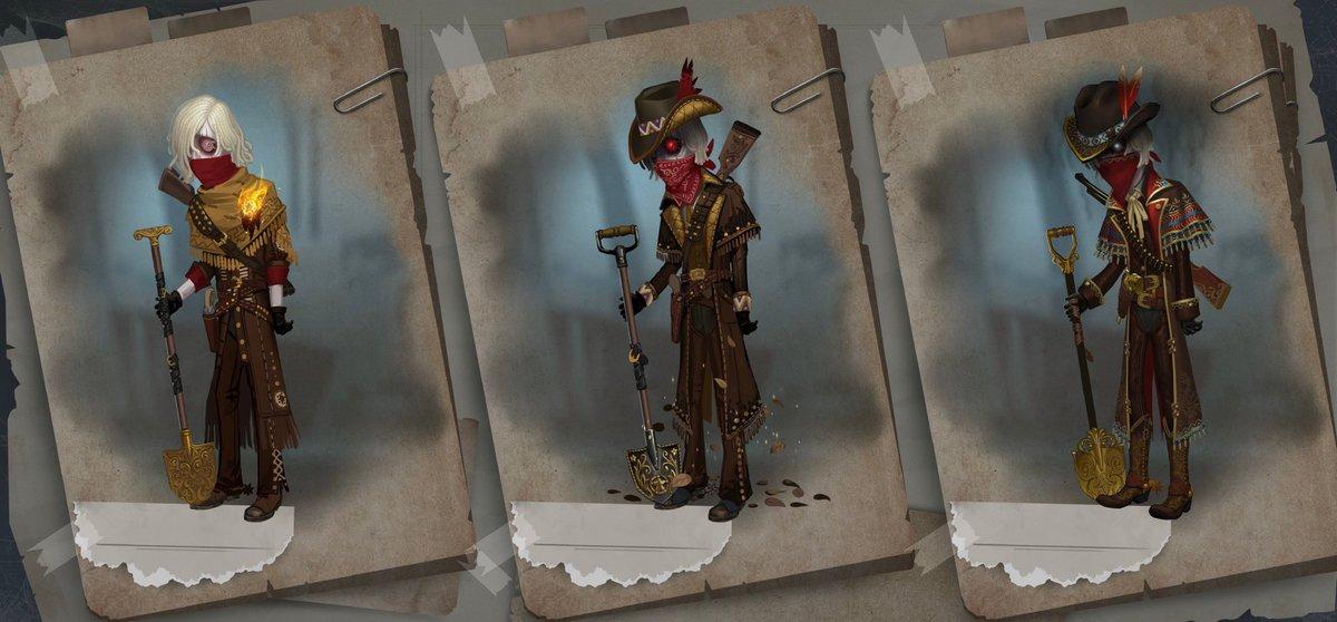 【設定資料】墓守-限定UR衣装「日没黄砂」バーメイド-SSR衣装「黒薔薇」ガードNo.26-SSR衣装「西部のボス」
