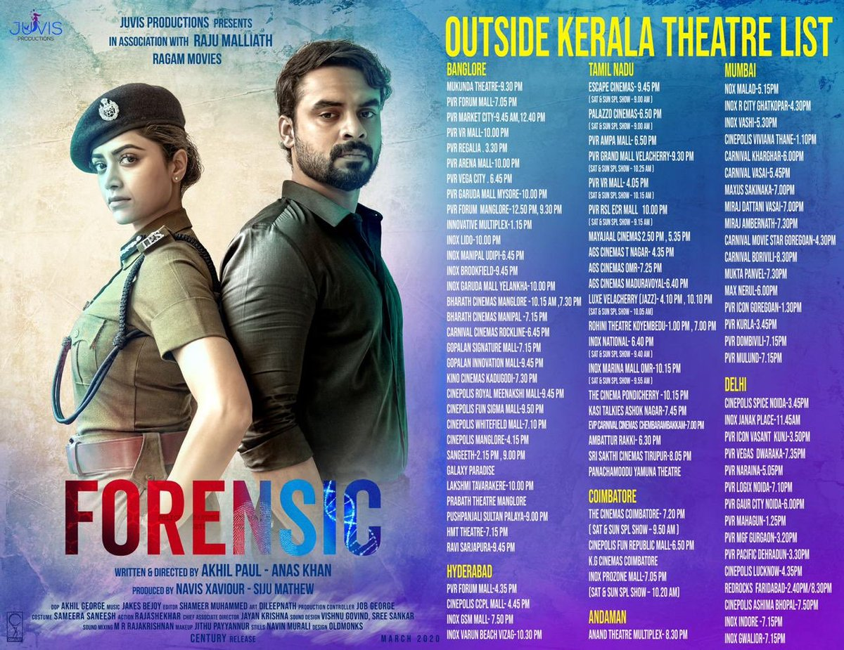 Tovino Thomas On Twitter Forensic Rest Of India Theatre List