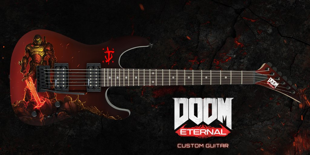 🤘DOOM Eternal custom guitar giveaway is upon us.🤘 Follow and RT to enter. #BethesdaGameDays  Rules: https://t.co/hQArDvxbqO https://t.co/Ah8RCgyZxi
