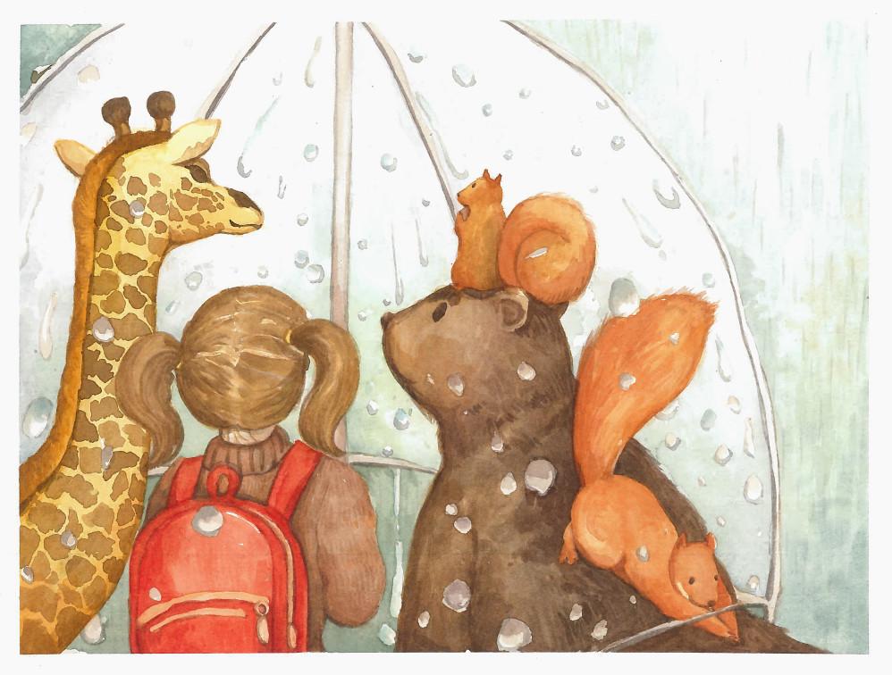 Sheltering from the rain, a lovely #illustration by Lexin Lin. View Lexin's full #portfolio at    #kidlitart