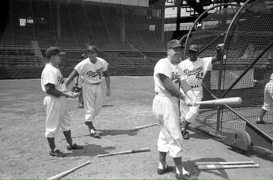 """""""The Boys of Summer""""Duke Snider,Jackie Robinson and Gil Hodges and Pee Wee Reese  before a 1950's game at Ebbets Field.#Dodgers #Brooklyn #MLB #1950s #nostalgia"""