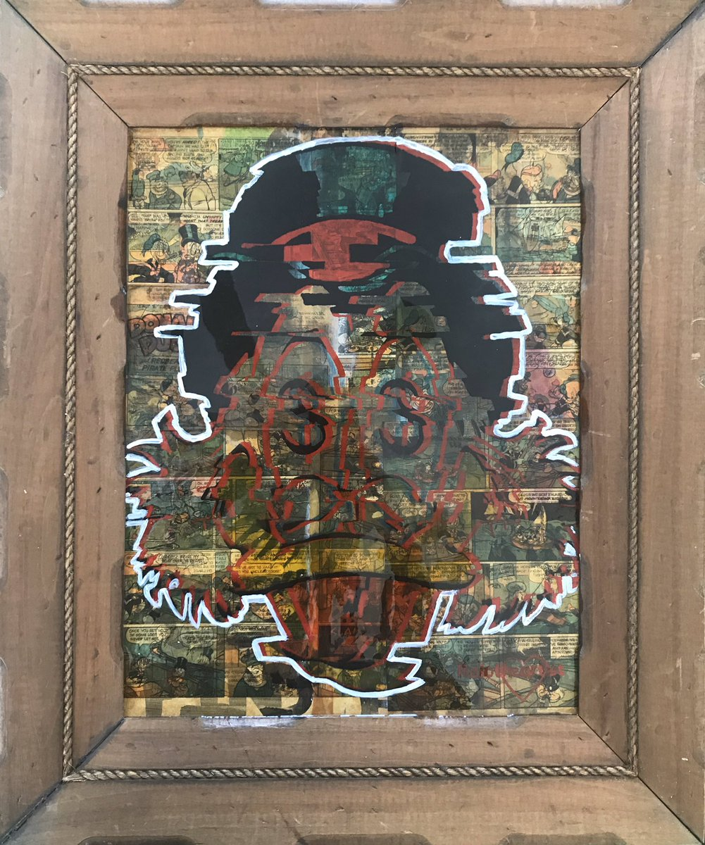 """""""Glitchy Scrooge""""  20 x 24 Inch.  Donald Duck Comic book pages, oil paint, acrylic paint, resin finish.   Wooden frame with matte finish.  Available for purchase on my website.   http://Www.rojotheartist.com   #rojotheartist #unclescroogeartpic.twitter.com/sAgkAEmgME"""