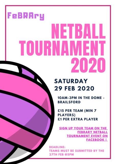 FeBRAry Netball Tournament will be held this Saturday the 29th of February, at 10am in the Dome - Brailsford  Bydd Twrnament Pêl-rwyd FeBRAry yn cael ei gynnal ddydd Sadwrn yma y 29ain o Chwefror yn yt Dome -Brailsford  FB Event: https://www.facebook.com/events/821965424970011/…pic.twitter.com/UBmUyQkHVI