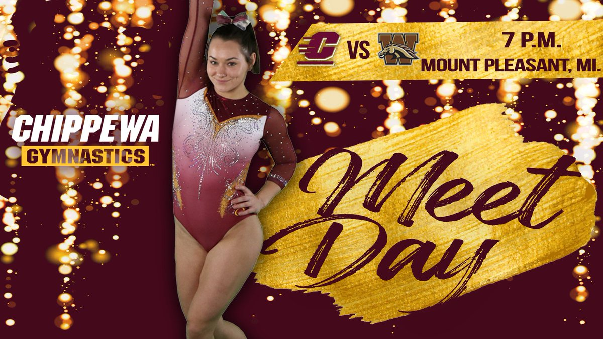 MEET DAY❗️  The Central Michigan gymnastics team competes at McGuirk Arena today in a conference match-up against Western Michigan University.   🕑 7 p.m. ET 📍 Mount Pleasant, Michigan 🏟 McGuirk Arena  📺   #FireUpChips 🔥⬆️