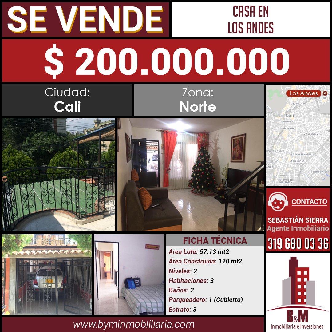 #NuevoPrecio #Antes ̶$̶ ̶2̶0̶5̶ ̶M̶i̶l̶l̶o̶n̶e̶s̶#Ahora 💲 200 Millones🏠 Casa de dos niveles3️⃣ Habitaciones 2️⃣ Baños📍 Sector Residencial..📲 (+57) 3164362925☎️ (2) 3843463.Ver más ➡️https://byminmobiliaria.com/main-inmueble-info-1784355.htm….#Venta #Casa #LosAndes #Norte #Cali #CaliCo #BienesRaices