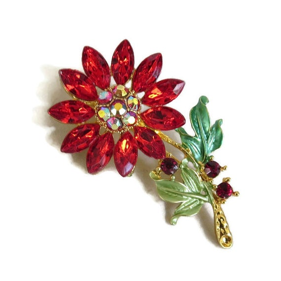 Green Enamel Flower Brooch with Red and Aurora Borealis Rhinestones #Vintage #fashion #brooches #necklaces #sets #bracelets #earrings #jewelry