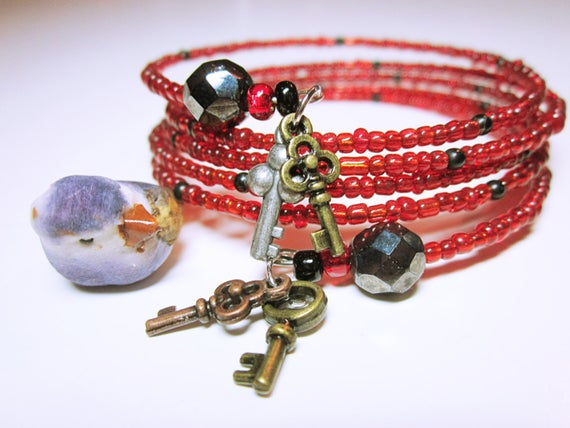 Red Bead Wrap With Black Accents Boho #Style Gold And Silver Key Charms Red Wrap Cuff Bracelet For Her #JEWELRY BRACELET #wrapbracelets #handmade #gift #fashion #giftideas #giftforher #bracelets