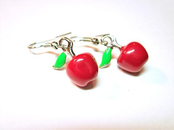 #Red #Apple Teachers Gift #Earrings Enamelled Red Apple Drops Adorable Earrings Teacher's Pet Teacher Gift Idea JEWELRY #beaded #jewelry #fashion #handmade