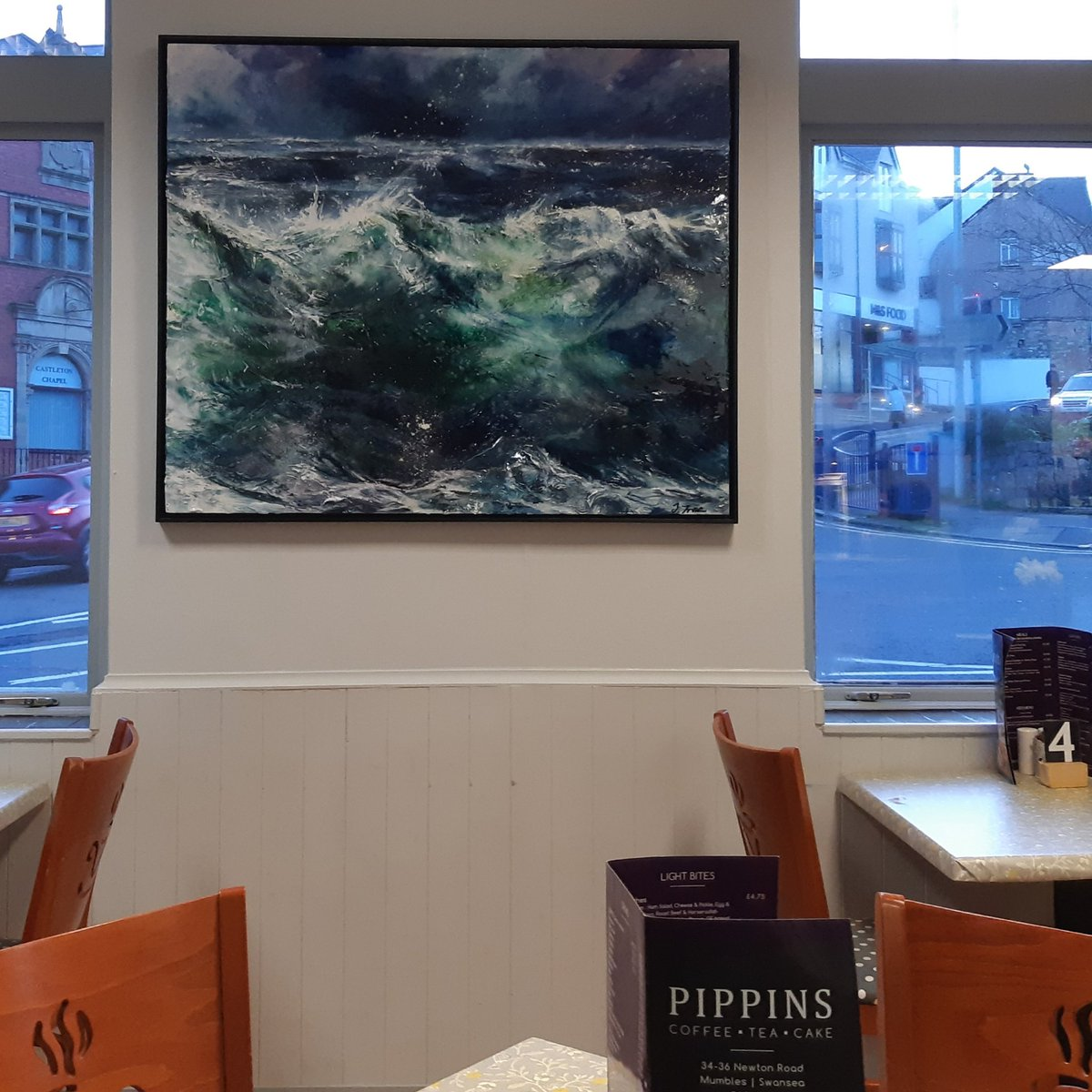 At home on Pippins tea room wall, Mumbles.  Sea Wall. Contact Tides for details & commissions