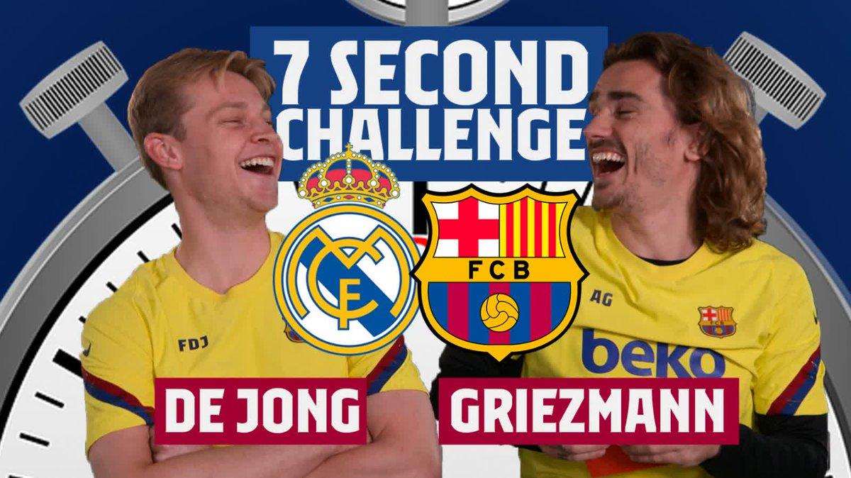 Who will win the 7⃣Second Challenge #ElClásico edition? 🤔  ❤ @AntoGriezmann  🔁 @DeJongFrenkie21  📹 Full video: http://barca.link/niq450yxnb0