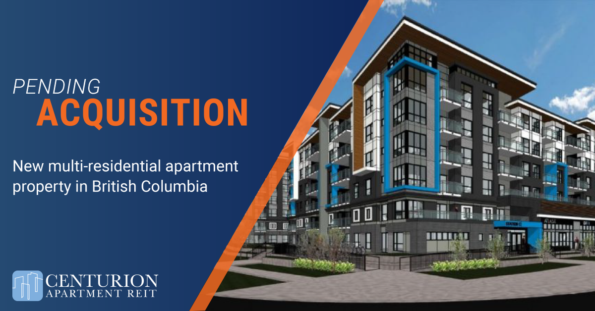Centurion is pleased to announce the pending acquisition of a multi-residential property in #Surrey #BritishColumbia. Once completed, it will house four 6-storey, luxury rental buildings. Learn more here:   #REIT #RealEstate #Portfolio #Acquisition