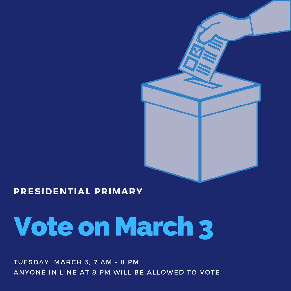 The U.S. Presidential Primary is Tuesday, March 3! Elected officials are your voice in the political process, and your vote matters.  Find dates, locations, and other resources to help you feel prepared to vote with confidence on #SuperTuesday at  http:// vote.minneapolismn.gov/voters/WCMSP-2 20823   … <br>http://pic.twitter.com/DYlKx215Ex