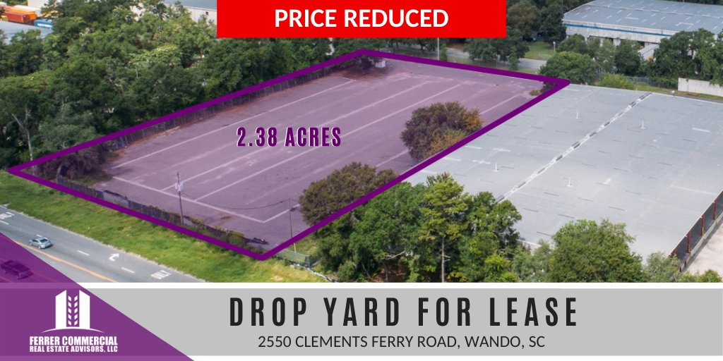 PRICE REDUCED: Drop Yard available immediately for Lease! 2.38 acre yard off of Clements Ferry Rd and Springbok Ln. Less than a mile from I-526 in Wando, #SouthCarolina. It is lit, fenced and paved. >>   #CRE #dropyard #industrial #yard #ForLease #chs