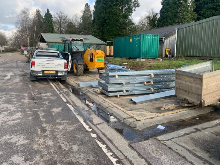 Haywoods , Heath . 5.2x18.3-4 m eaves . Day 1 & all built up and ready for installation tomorrow . #insulated #insulatedbuilding #haywoodheath #steelbuildings #olivegreen pic.twitter.com/i9OjZMd4Fh