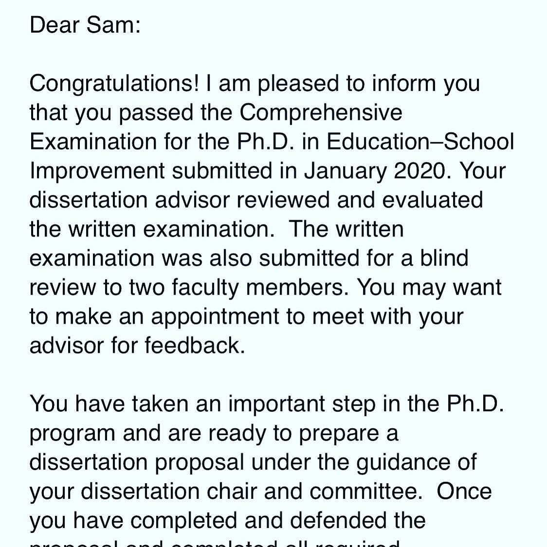 Wanted to share with the Seguin community that I'm one step closer to my PhD in School Improvement! This was great news after a week of stressful contests! @SeguinISD @SeguinFineArts @AJBriesemeister #AlmostDoctor #PhDJourney <br>http://pic.twitter.com/PuoLT1tmEf