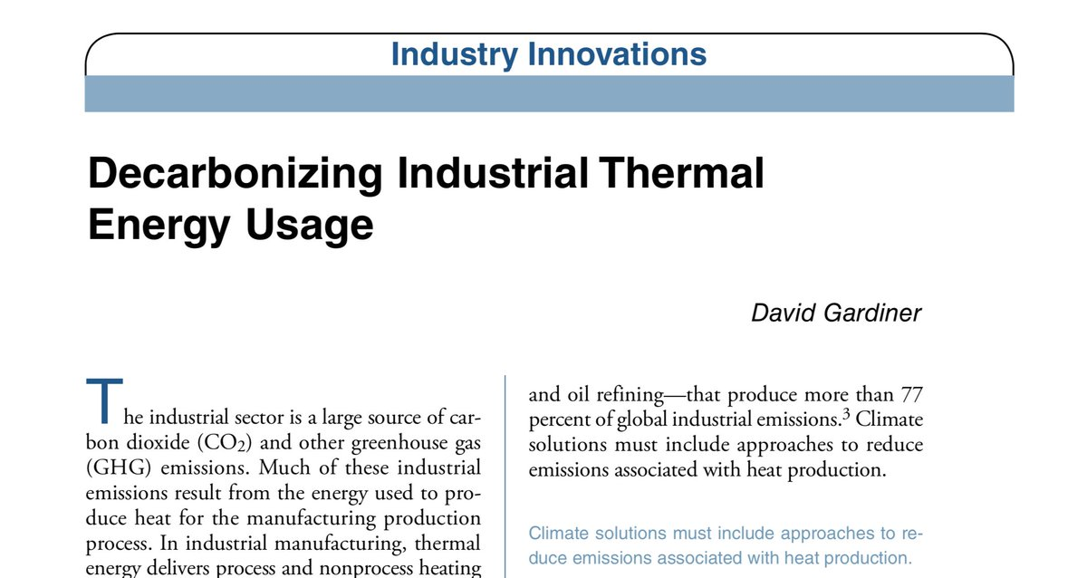David Gardiner, Executive Director of the CHP Alliance, published an article in Wiley Natural Gas & Electricity Journal on decarbonizing #industrial heat. He writes that the first step is to make industrial process more efficient with CHP and WHP.