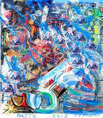 """Paste"" by Andreavadner. DIGITAL ART, MIXED MEDIA via @ArtLoupe. #abstract #landscape #blue #chaos"