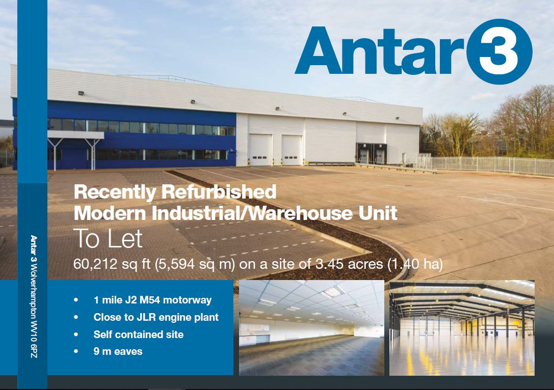 To Let Antar 3, #Wolverhampton a #warehouse #industrial building situated within a mile of #Junction2 #m54 with great road links to the #m6 and wider #motorway network. Extending to approximately 60,212 sq ft. Interested? Contact me. @JLLIndustrial