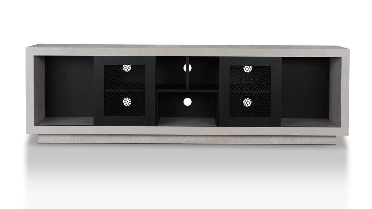 Theater Thursday 🎟️  Watching the big game on your TV from this Industrial stand is like sitting in the stadium itself.  Belgrave Industrial Cement-Like Multi-Storage TV Stand -   #TheaterThursday #GameDay #industrial #home #HousePride #interiordecor