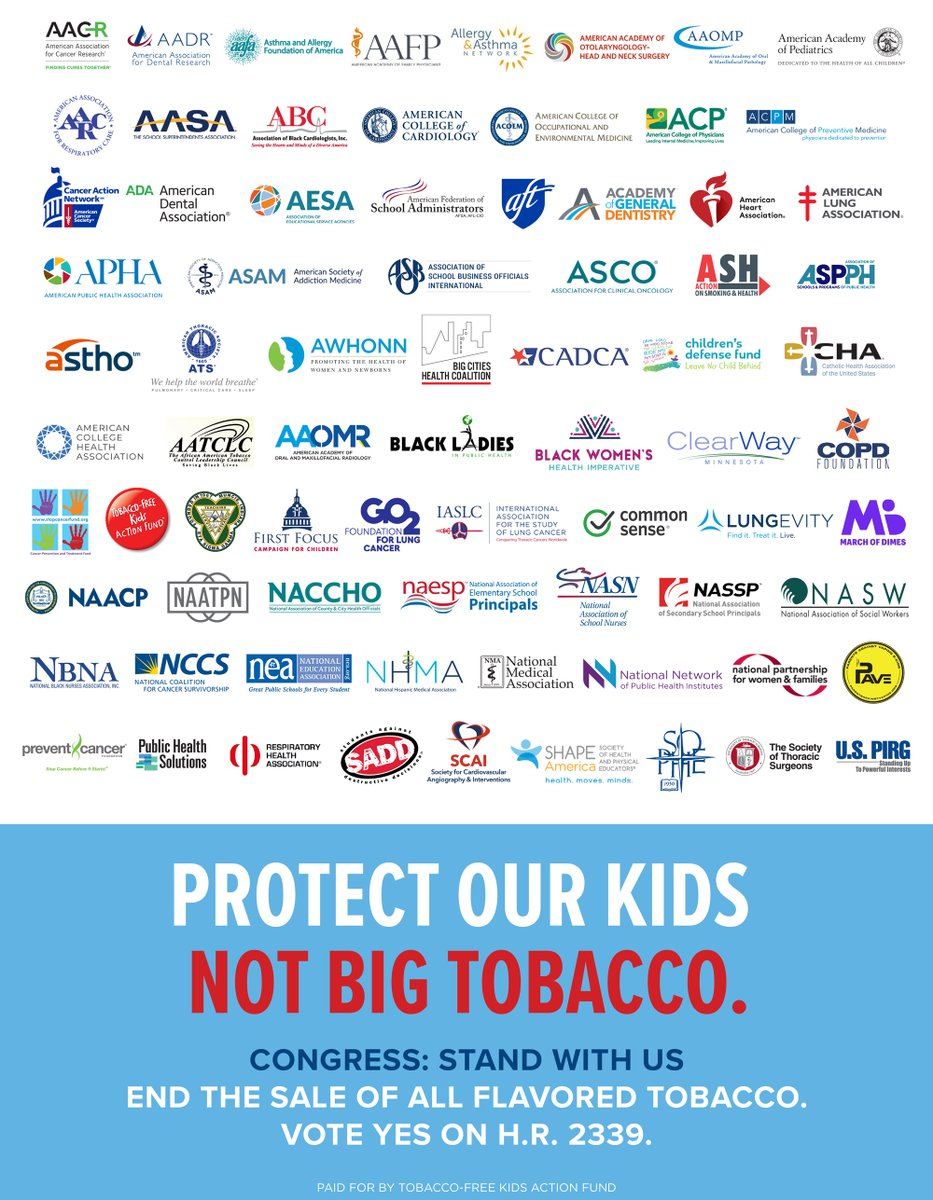 CHA joins with @TobaccoFreeKids and over 70 other organizations in support of #HR2339 and call on Congress to end the sale of all flavored tobacco