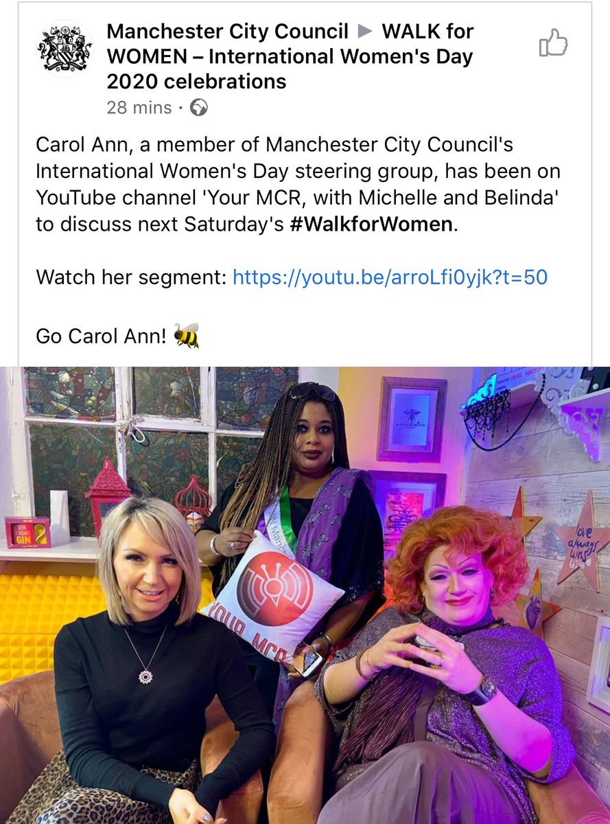 If your day is a bit rubbish then something to cheer you up  Brace yourself @YourMCR TV https://youtu.be/arroLfi0yjk #InternationalWomensDay #WalkForWomen on 7 March is going to be fab! A celebration of women #EachforEqual starting at noon at Cathedral Gardens #Manchester pic.twitter.com/V7TEqaFmCM