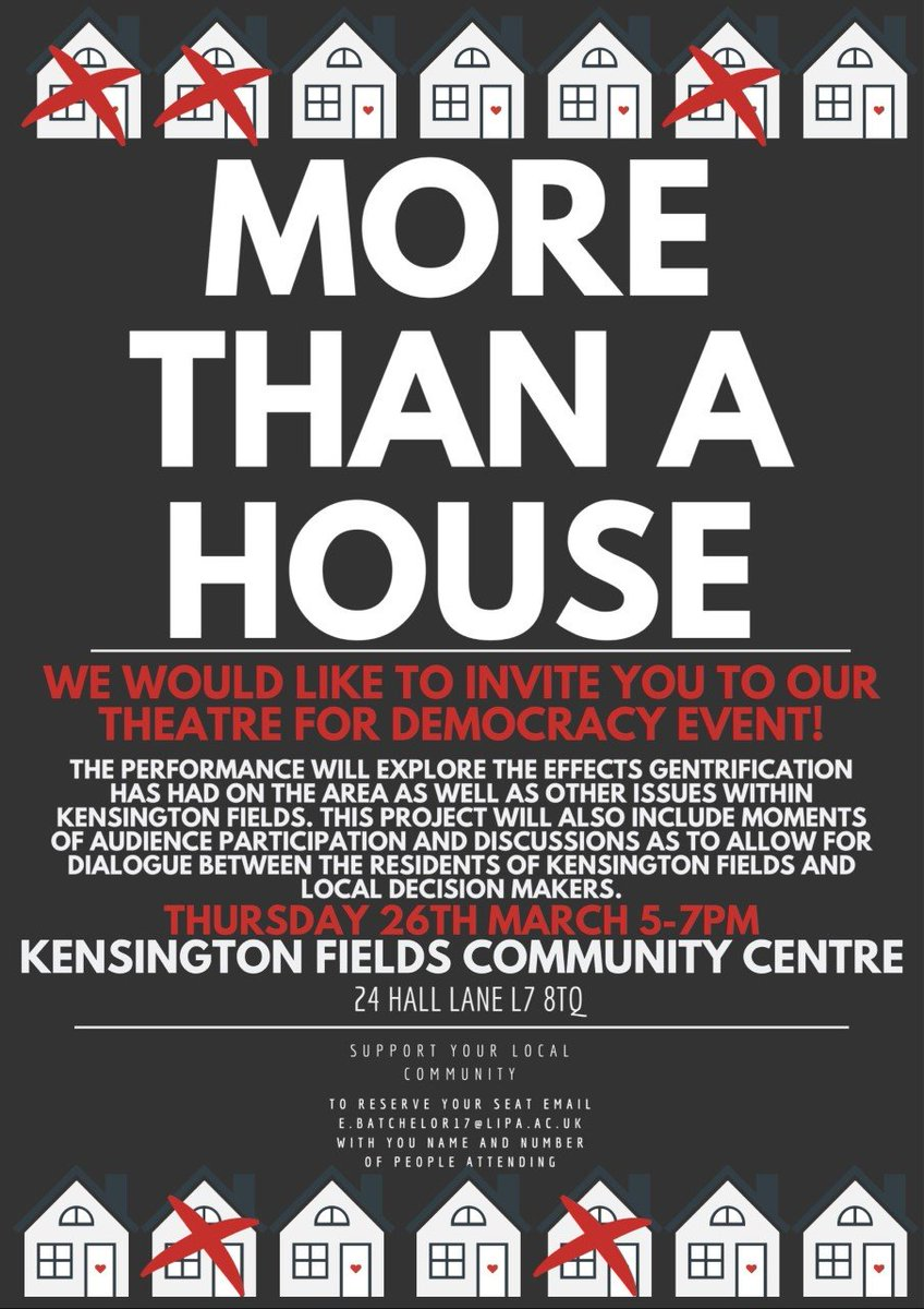 🏠MORE THAN A HOUSE🏠 #theatre for #democracy event. Thursday 26th March 5-7pm #kensingtonfields