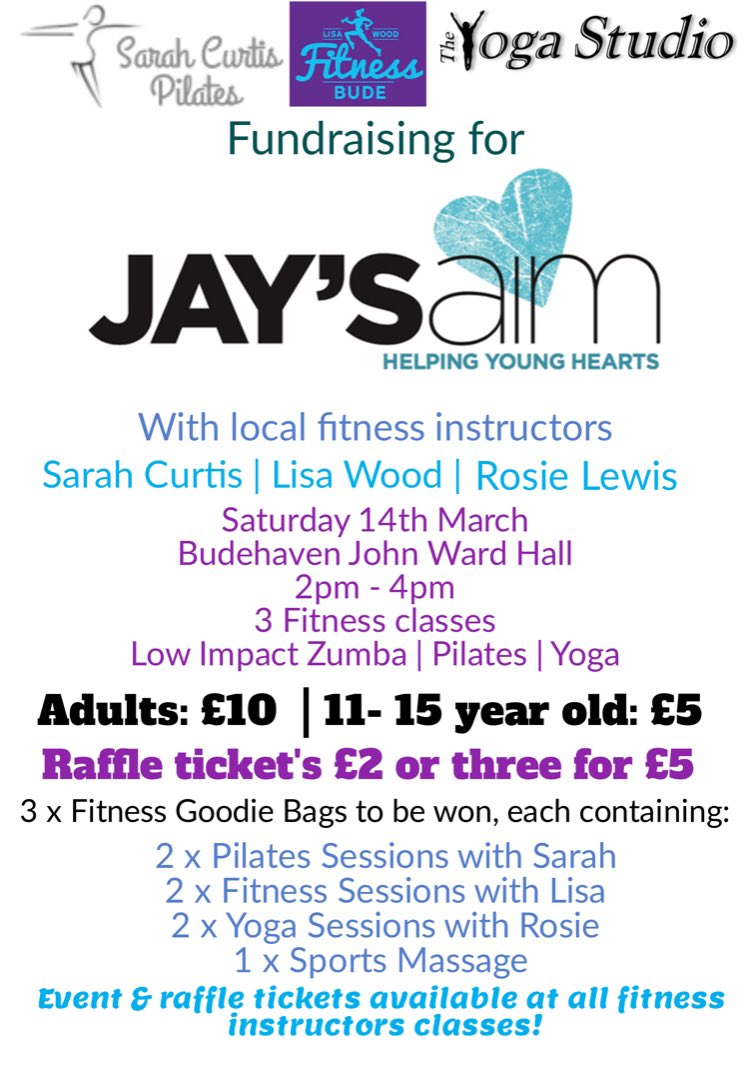A huge thank you to Sarah Curtis, Lisa Wood and Rosie Lewis for organising this amazing event. With just over 2 weeks to go, it's time to get your tickets people! Buy them from all 3 instructors classes, or on the door on the day! 💙🧘🏽♂️🤸🏽♀️🧘🏼♀️ #jaysaim #yoga #pilates #fitness