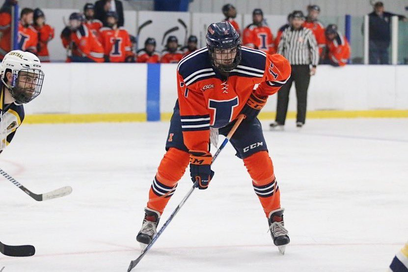 #17 Jon Moskaluk  Right Wing GP: 92 G: 38 A: 25  -After this year Jon plans on working as a financial analyst in Chicago -His biggest hockey highlight @ UIUC was the run to the national championship in 2018 -Moskaluk will miss coming to the rink everyday to see the boys pic.twitter.com/quIpkXr4Wn
