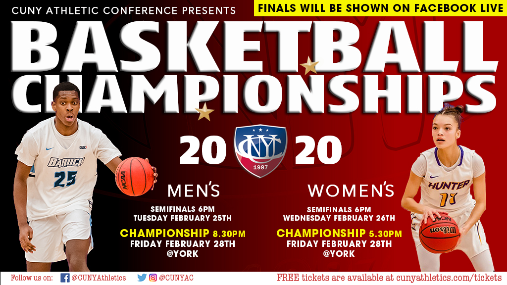 Tomorrow York College will serve as the host site for the 2020 CUNYAC Women's Basketball Championship game for the first time since 2004! Join in on the action and show the CUNYAC what York gameday is all about! Free tickets are available by visiting http://ow.ly/JeJz50yxQgkpic.twitter.com/ews1zY617v