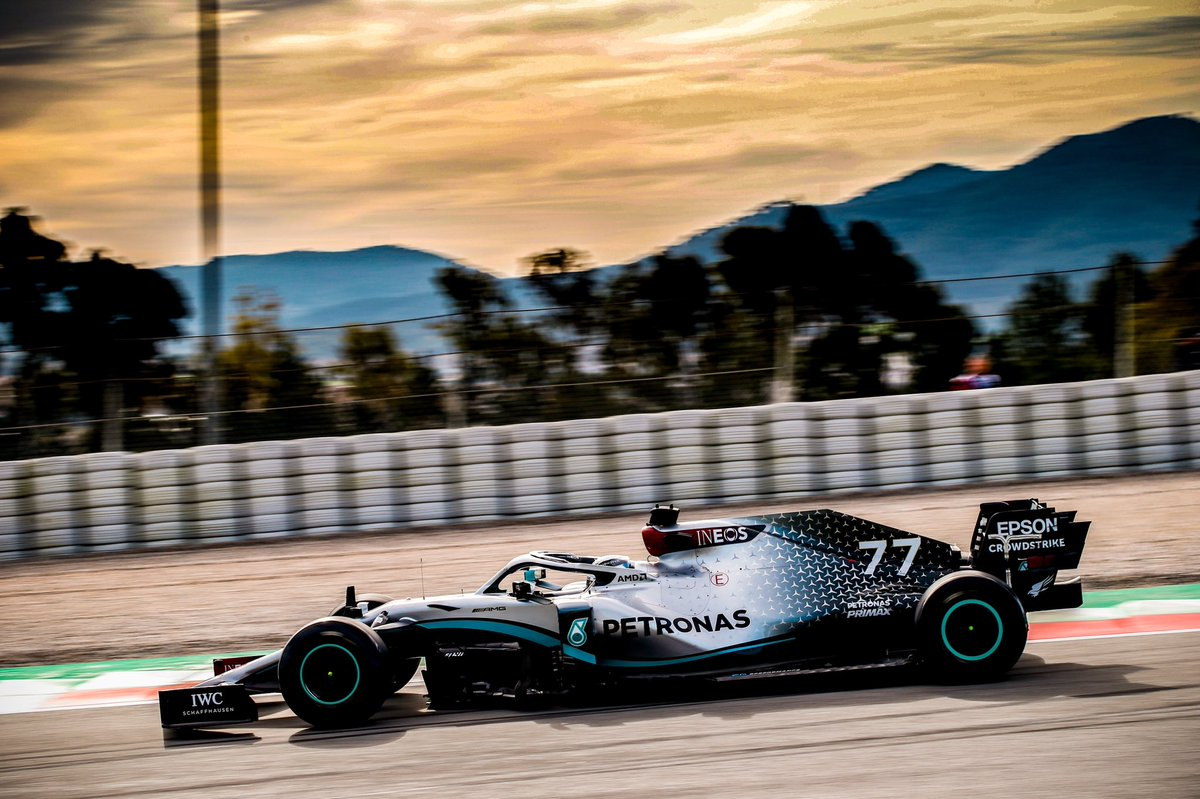 Test 2 Day 2 🌄  A bit less track time today but good learnings. One more day of testing left before we start racing 🏁  Read about the day: https://www.mercedesamgf1.com/en/news/2020/Testing/2020-f1-tests-week-2-day-2-mercedes-barcelona/ …  #VB77 #F1Testing @MercedesAMGF1