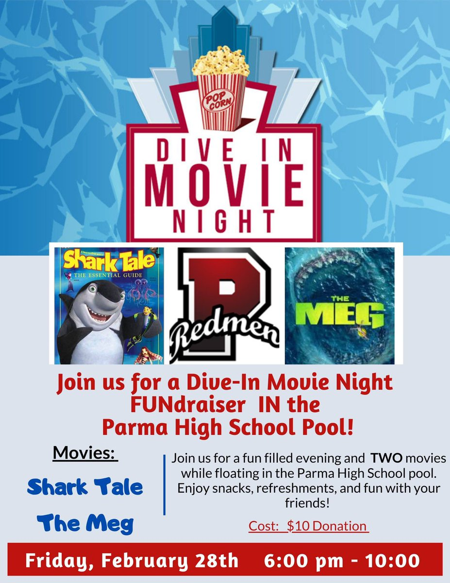 """Looking for something fun to do Friday night? Come on up to PSH and attend the """"Dive-In"""" movie night. Bring your own floats, and relax in the pool while watching Shark Tale and The Meg. pic.twitter.com/pOhnBuSvrT"""
