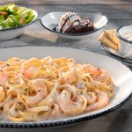 Image for the Tweet beginning: Soup, salad, biscuits, shrimp linguini