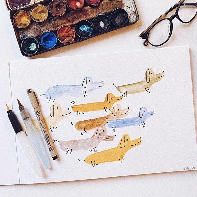 Te teckel mucho 💙 . . . #teckel #perrosalchica #drawings #lettering #ink #micron #draw #pointedpen #watercolor #evefox #design #designer #ilustracion #illustration #graphicdesign #graphicdesigner #creative #artdirector #quotes #vscocam #vsco #vscogoo…