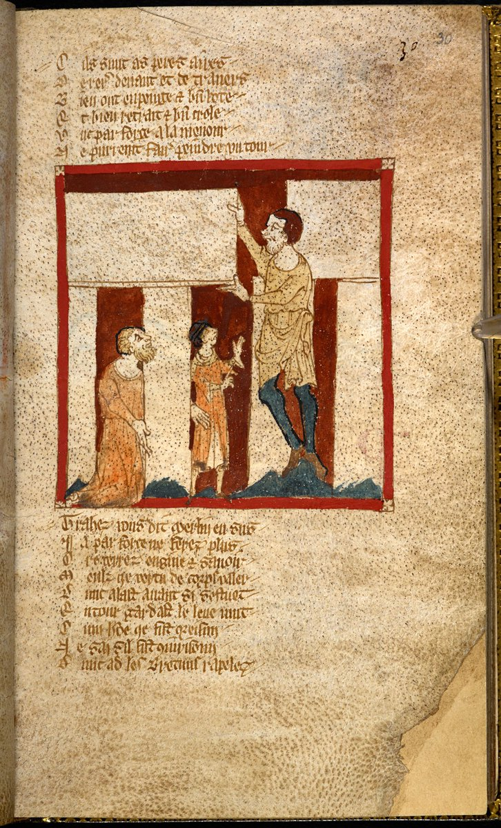 'With Merlin's aid Stonehenge is built' from Wace Roman de Brut, British Library, Egerton MS 3208, f.30. @FolkloreThurs