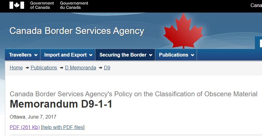 """Did you know that Canadian Boarder Services can stop any material entering the country that is deemed to be """"obscene""""? Inform yourself for #FTRWeek and check out their memorandum on the classification of obscene materials https://www.cbsa-asfc.gc.ca/publications/dm-md/d9/d9-1-1-eng.html…pic.twitter.com/cpEQGqW26L"""