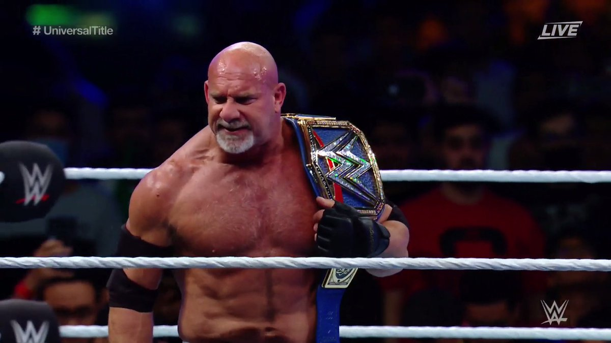 'I'M BACK, BOYS!' @Goldberg is a 2-TIME #UniversalChampion! #WWESSD