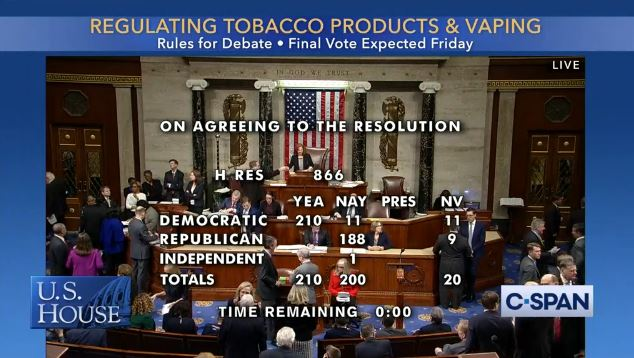 210-200: House adopts RULE for bill banning flavored tobacco products including e-cigarettes. 11 Democrats voted No: Cunningham-SC, Lamb-PA, Lawson-FL, McAdams-UT, McEachin-VA, Ocasio-Cortez-NY, Omar-MN, Porter-CA, Pressley-MA, Spanberger-VA and Tlaib-MI clerk.house.gov/evs/2020/roll0…