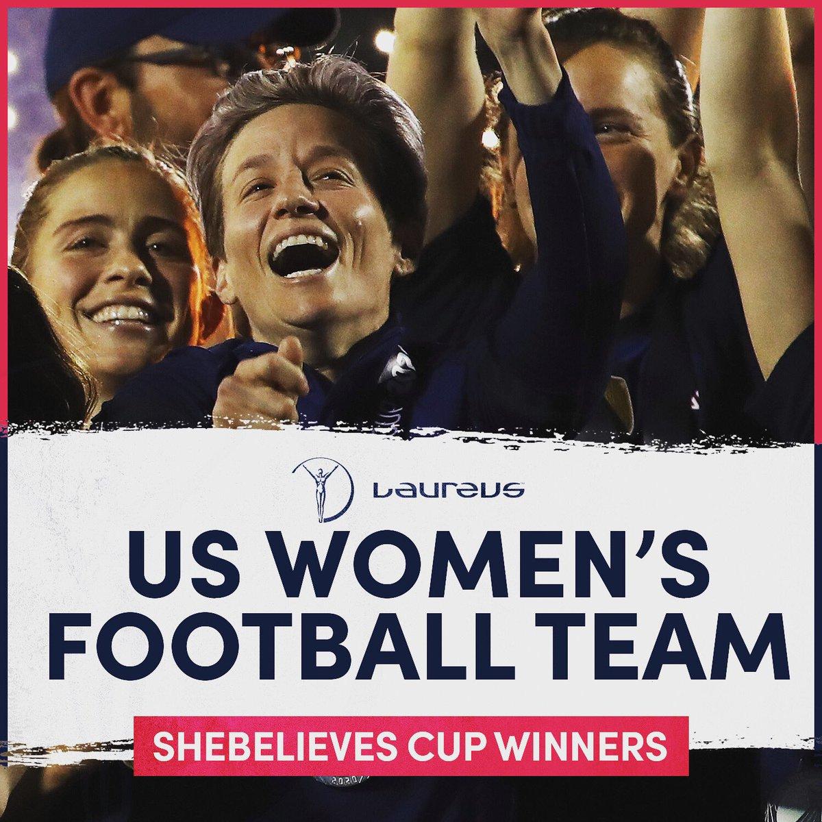 🏆🇺🇸  Congratulations to Laureus World Team of the Year nominee @USWNT and Laureus World Sportswoman of the Year nominee @mPinoe on winning the #SheBelievesCup2020   #USWNT #USA #SportUnitesUs